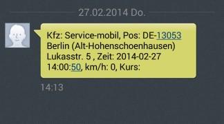 eingehende SMS mit der Position des Fahrzeugs